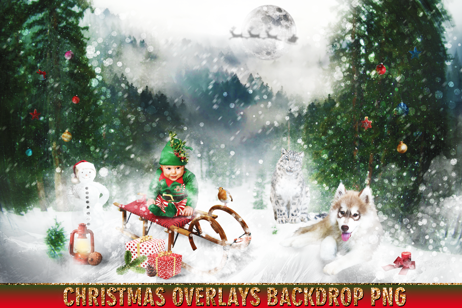 Download Free 150 Christmas Overlays Photoshop Graphic By 2suns Creative Fabrica for Cricut Explore, Silhouette and other cutting machines.