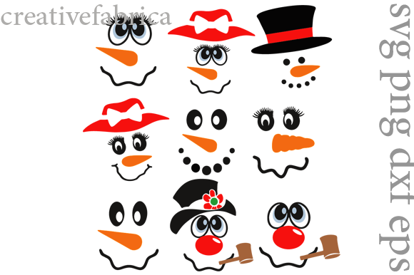 9 Design for the Snowman Faces Graphic Crafts By CrisketDigital - Image 1