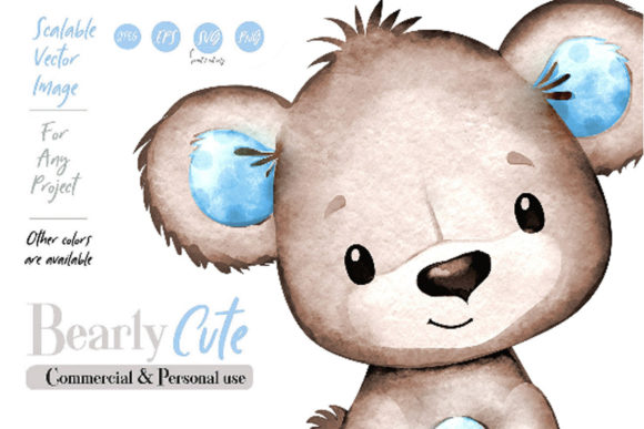Print on Demand: Brown Blue Bear Watercolor Clip Art Graphic Illustrations By adlydigital