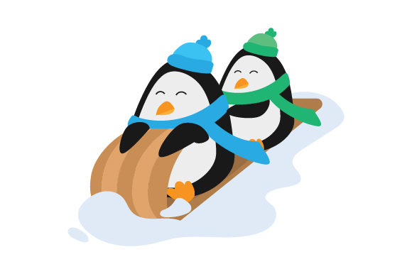 Download Free Penguins In Toboggan Svg Cut File By Creative Fabrica Crafts for Cricut Explore, Silhouette and other cutting machines.