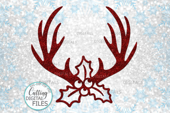 Christmas Deer Antlers Holly Berry Graphic Crafts By Cornelia - Image 1