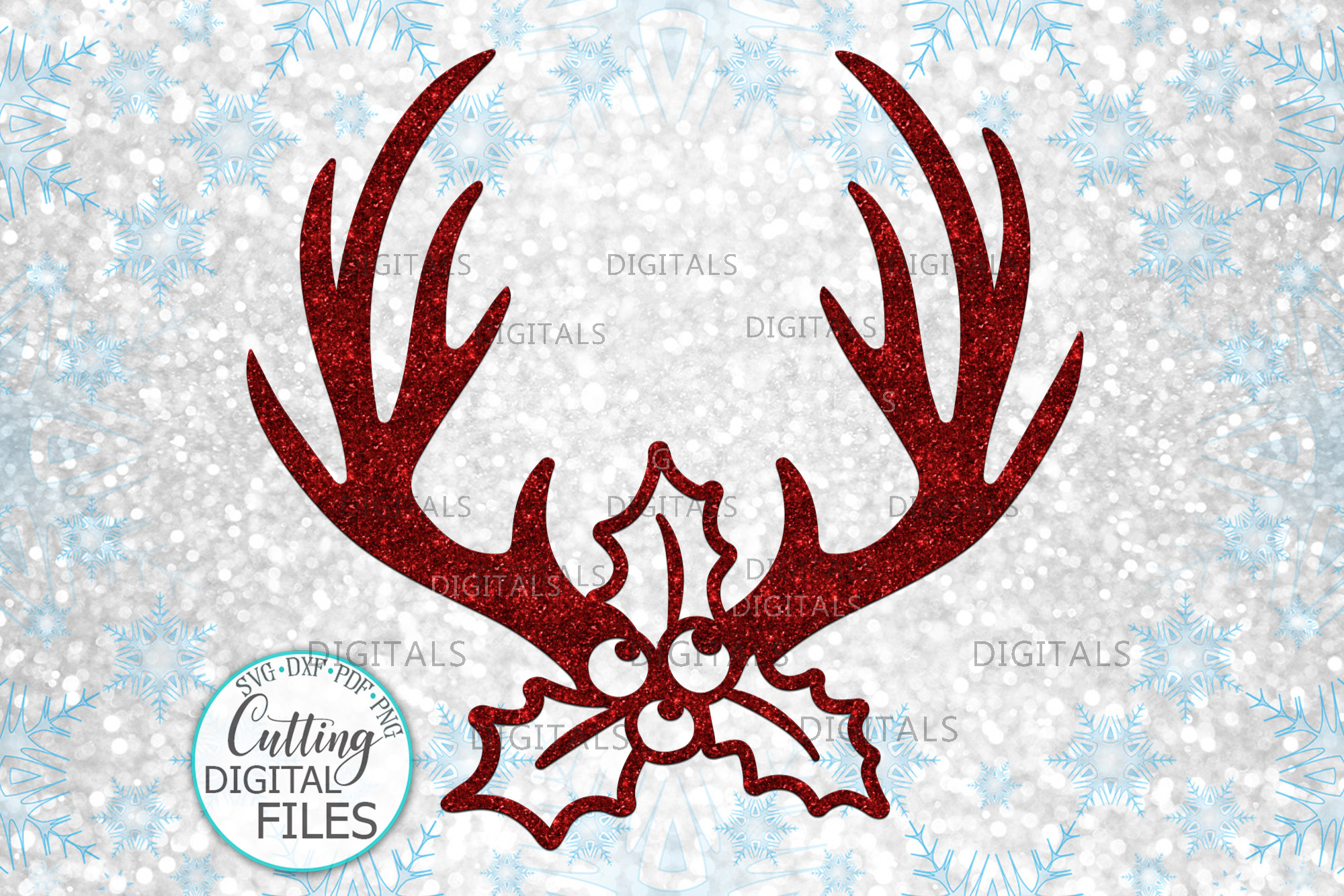 Download Free Christmas Deer Antlers Holly Berry Graphic By Cornelia for Cricut Explore, Silhouette and other cutting machines.