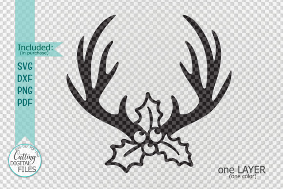 Christmas Deer Antlers Holly Berry Graphic Crafts By Cornelia - Image 2