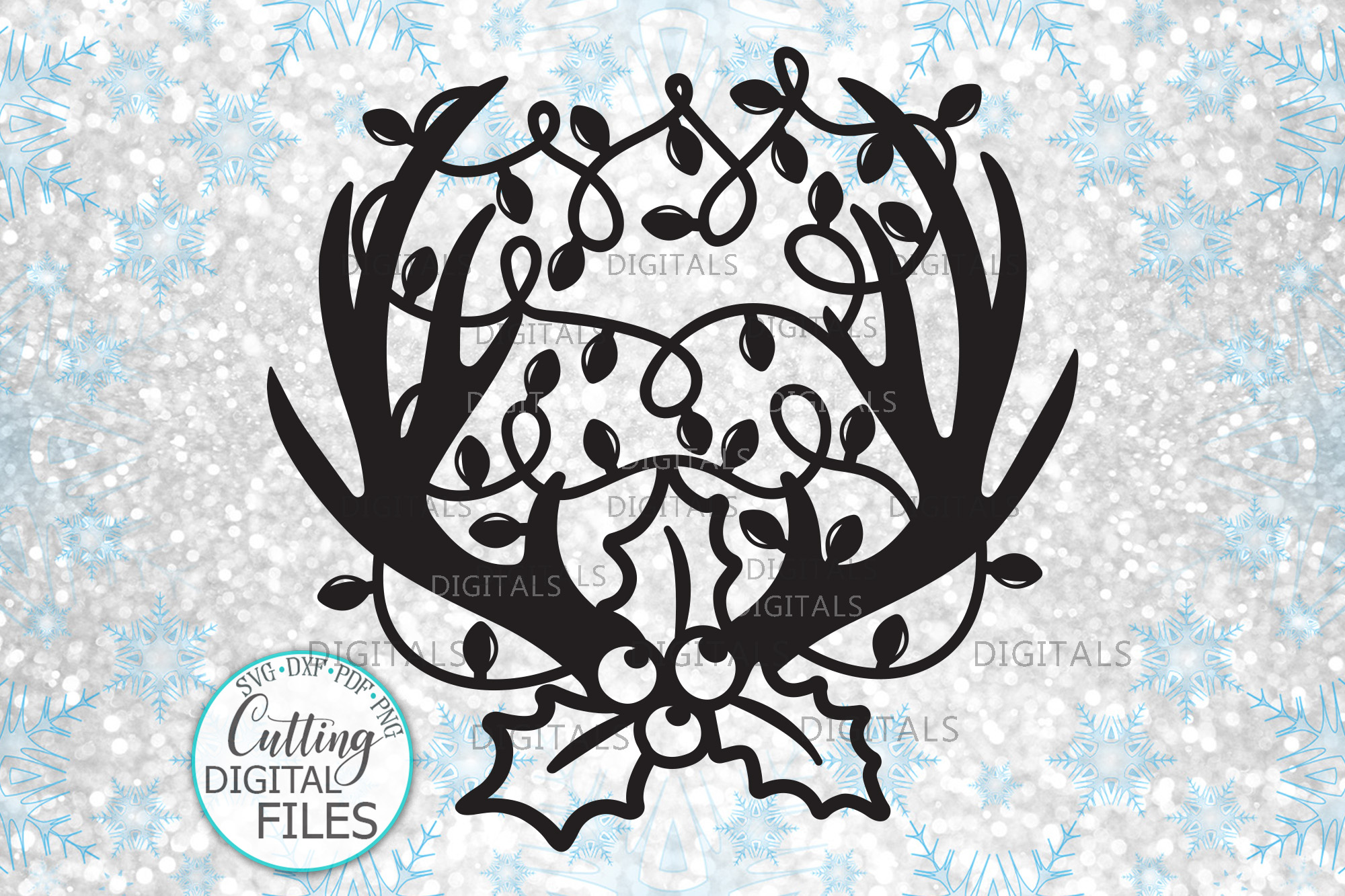 Download Free Deer Antlers Christmas Lights Graphic By Cornelia Creative Fabrica for Cricut Explore, Silhouette and other cutting machines.