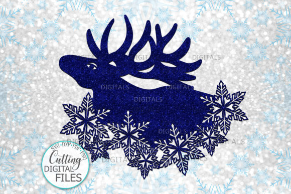 Christmas Moose with Snowflakes Graphic Crafts By Cornelia
