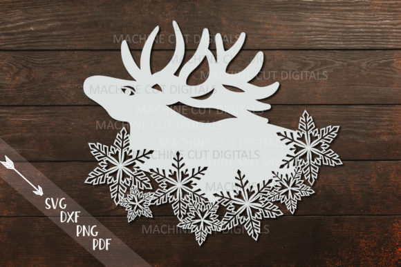Download Free Christmas Moose With Snowflakes Graphic By Cornelia Creative for Cricut Explore, Silhouette and other cutting machines.