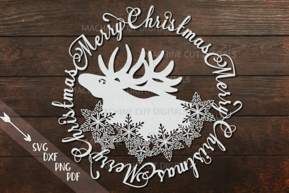 Download Free Merry Christmas Moose Snowflakes Graphic By Cornelia Creative for Cricut Explore, Silhouette and other cutting machines.