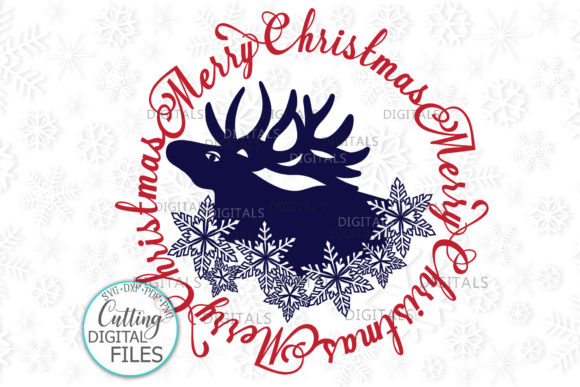 Merry Christmas Moose Snowflakes Graphic Crafts By Cornelia