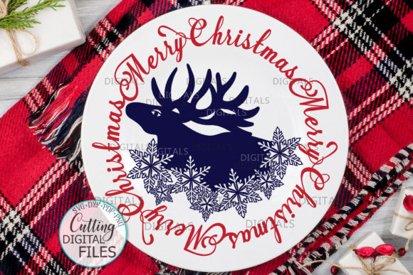 Merry Christmas Moose Snowflakes Graphic Crafts By Cornelia - Image 2