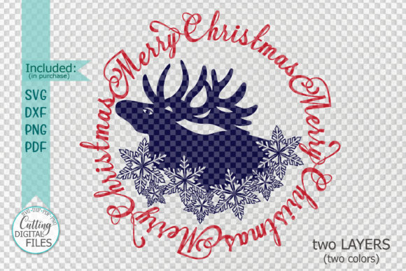 Merry Christmas Moose Snowflakes Graphic Crafts By Cornelia - Image 3
