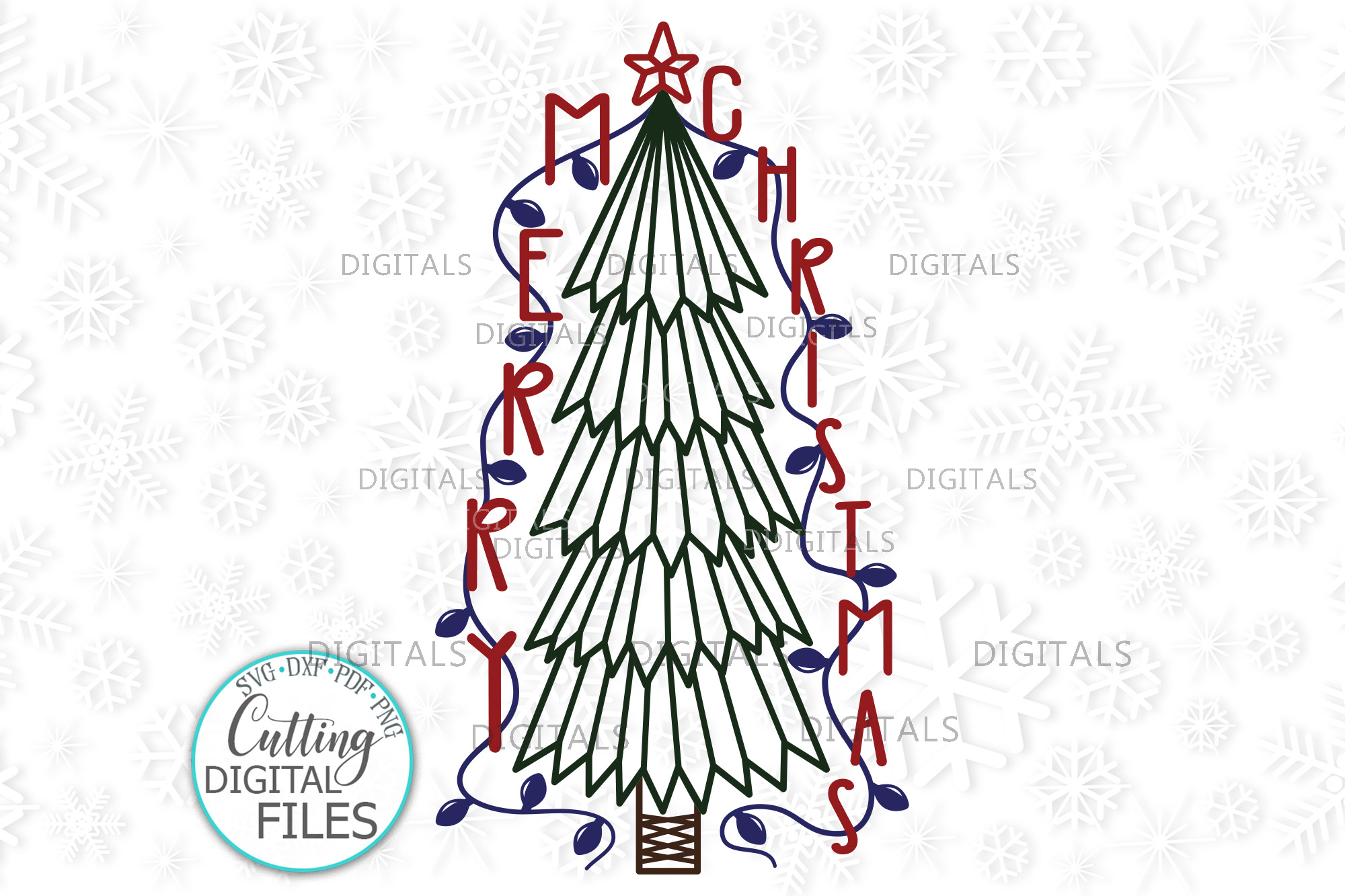 Download Free Primitive Merry Christmas Tree Graphic By Cornelia Creative for Cricut Explore, Silhouette and other cutting machines.
