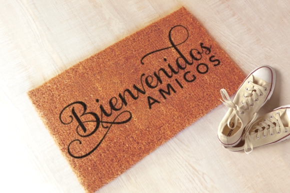 Download Free Bienvenidos Amigos Graphic By Risarocksit Creative Fabrica for Cricut Explore, Silhouette and other cutting machines.