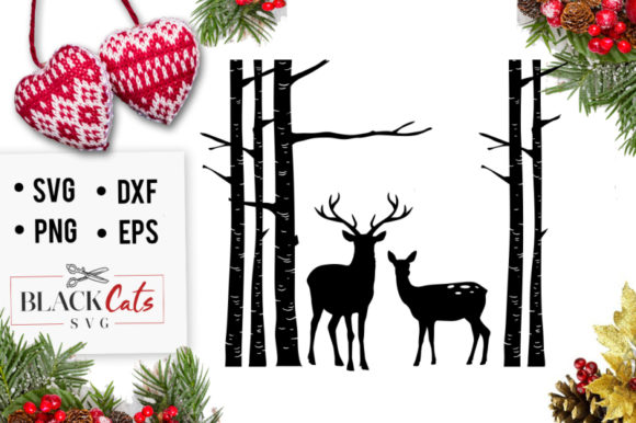 Birch Trees and Deer SVG Graphic By BlackCatsMedia