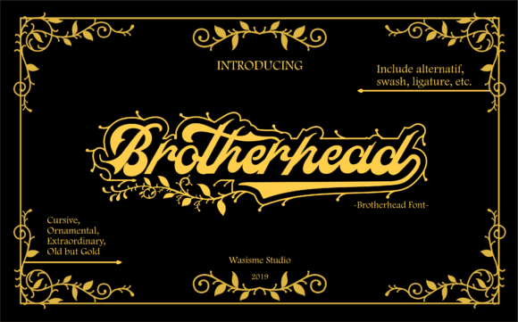 Print on Demand: Brotherhead Blackletter Font By Wasisme Studio