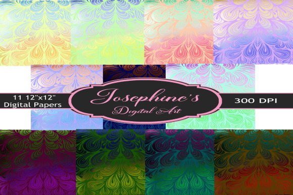 Download Free Cascading Swirls Colorful Digital Paper Graphic By Josephine S for Cricut Explore, Silhouette and other cutting machines.