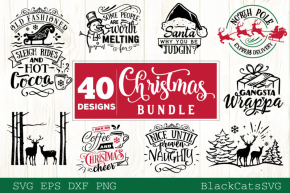 Download Free Christmas Bundle 40 Designs Vol 3 Graphic By Blackcatsmedia SVG Cut Files