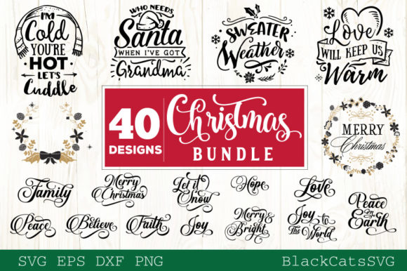 Download Free Christmas Bundle 40 Designs Vol 3 Graphic By Blackcatsmedia for Cricut Explore, Silhouette and other cutting machines.