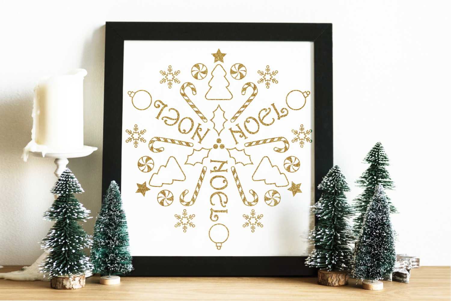 Download Free Circular Christmas Mandala Art Graphic By Risarocksit Creative for Cricut Explore, Silhouette and other cutting machines.