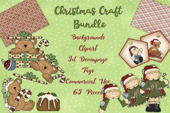 Print on Demand: Christmas Clipart and Backgrounds Bundle Graphic Illustrations By The Paper Princess - Image 1