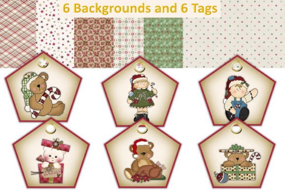 Print on Demand: Christmas Clipart and Backgrounds Bundle Graphic Illustrations By The Paper Princess - Image 2
