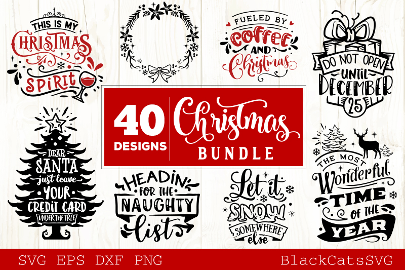 Download Free Christmas Bundle 40 Designs Vol 4 Graphic By Blackcatsmedia for Cricut Explore, Silhouette and other cutting machines.
