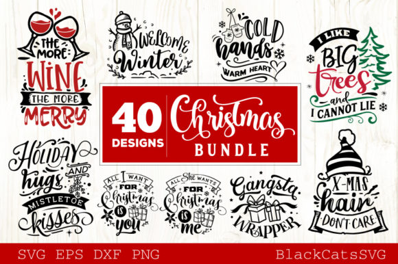 Download Free Christmas Bundle 40 Designs Vol 4 Graphic By Blackcatsmedia SVG Cut Files