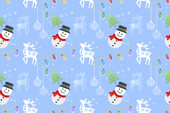 Download Free Christmas Pattern Santa Snowman And Deer Graphic By Ranger262 for Cricut Explore, Silhouette and other cutting machines.