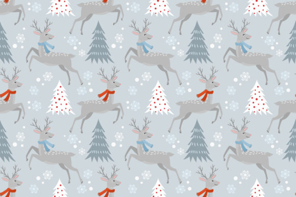 Seamless Pattern Christmas Tree and Deer Graphic By ranger262