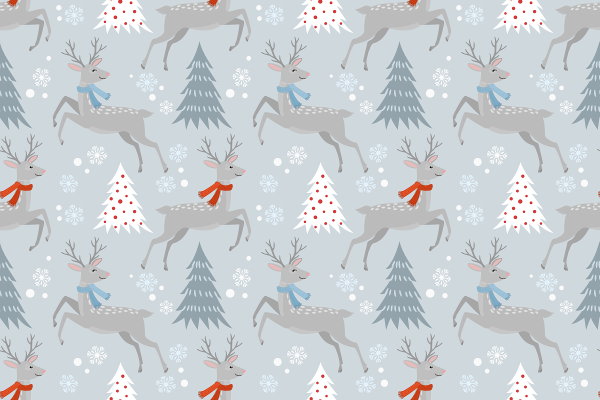 Download Free Seamless Pattern Christmas Tree And Deer Graphic By Ranger262 for Cricut Explore, Silhouette and other cutting machines.