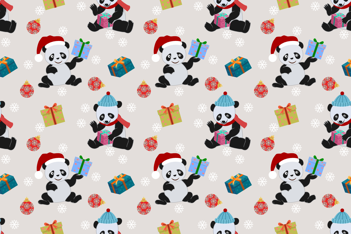 Download Free Cute Panda And Gift Pattern Graphic By Ranger262 Creative Fabrica for Cricut Explore, Silhouette and other cutting machines.