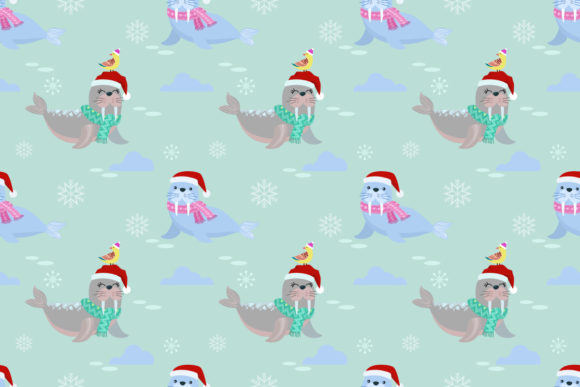 Download Free Cute Seal With Christmas Hat Pattern Graphic By Ranger262 for Cricut Explore, Silhouette and other cutting machines.