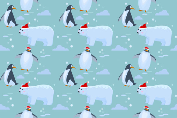 Download Free Bear And Penguin On Ice Pattern Graphic By Ranger262 Creative for Cricut Explore, Silhouette and other cutting machines.