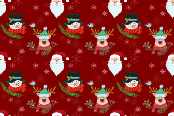 Snowman Santa and Deer Pattern. Graphic By ranger262