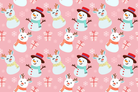 Snowman Rabbit and Gift Pattern. Graphic By ranger262