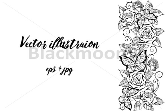 Edge of Contour Roses and Butterflies Graphic Illustrations By Blackmoon9