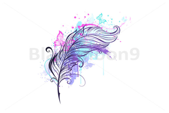 Feather with Butterflies Graphic Illustrations By Blackmoon9