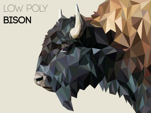 Low Poly Bison Graphic Illustrations By Manuchi