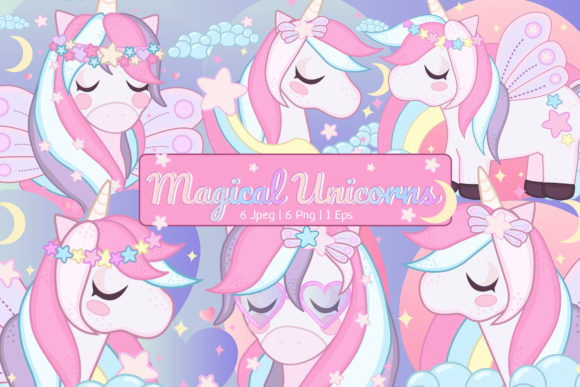 Print on Demand: Magical Unicorn Clipart Set Graphic Illustrations By JM_Graphics - Image 1
