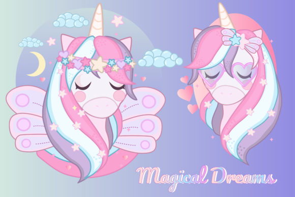 Print on Demand: Magical Unicorn Clipart Set Graphic Illustrations By JM_Graphics - Image 2
