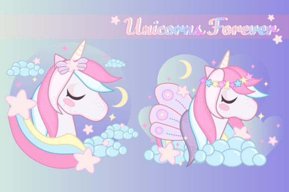 Print on Demand: Magical Unicorn Clipart Set Graphic Illustrations By JM_Graphics - Image 3