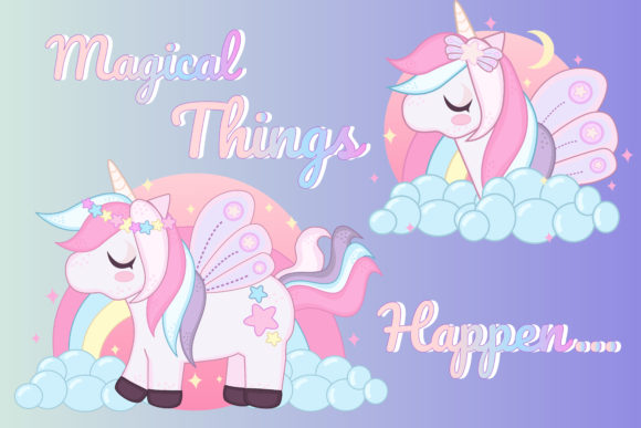 Print on Demand: Magical Unicorn Clipart Set Graphic Illustrations By JM_Graphics - Image 4