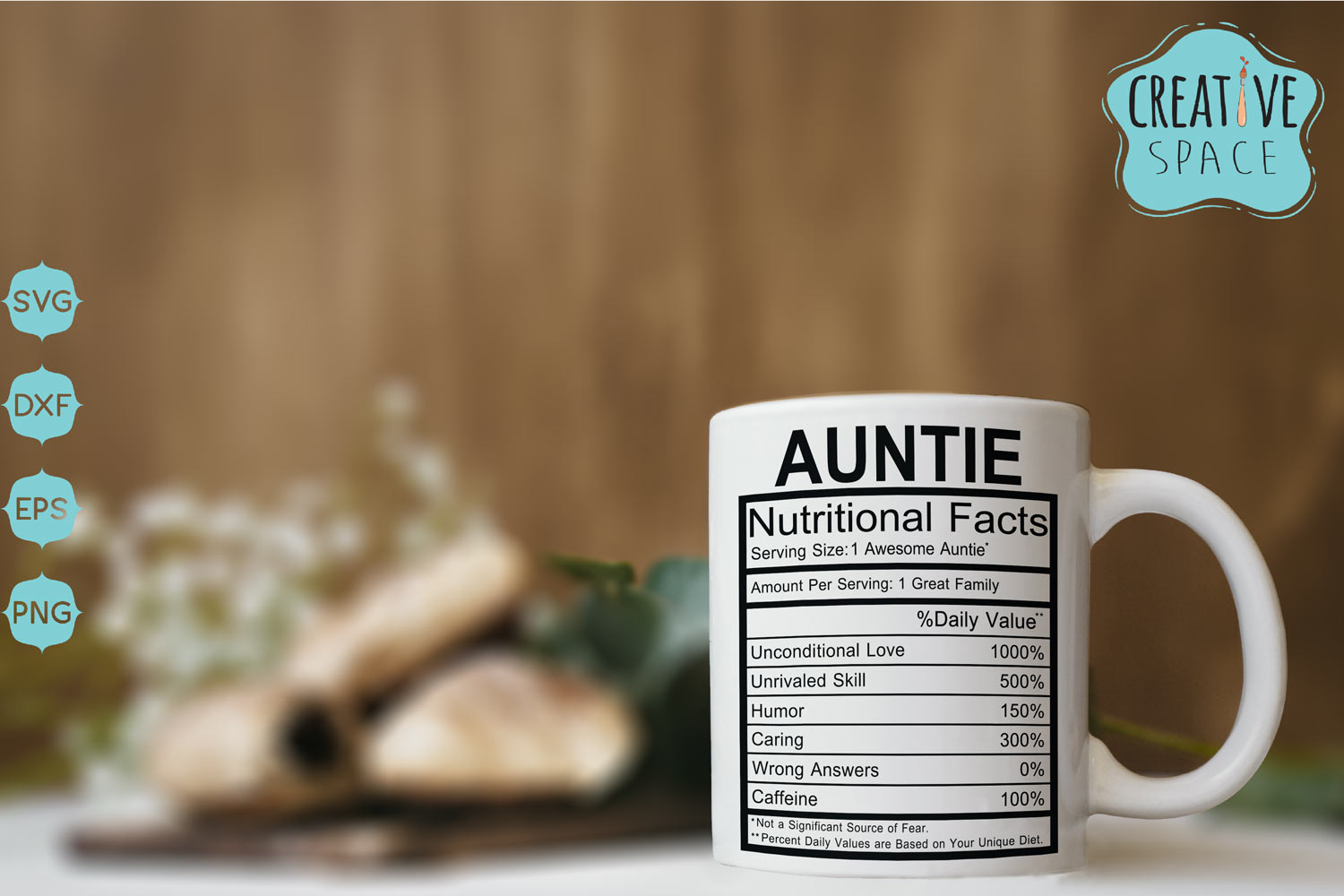 Download Free Auntie Nutritional Facts Graphic By Creativespace Creative Fabrica for Cricut Explore, Silhouette and other cutting machines.