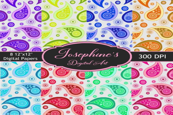 Print on Demand: Paisley 1 Set of 8 Digital Papers Graphic Backgrounds By Josephine's Digital Art
