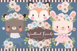 Woodland Friends Clipart Set Grafik von JM_Graphics