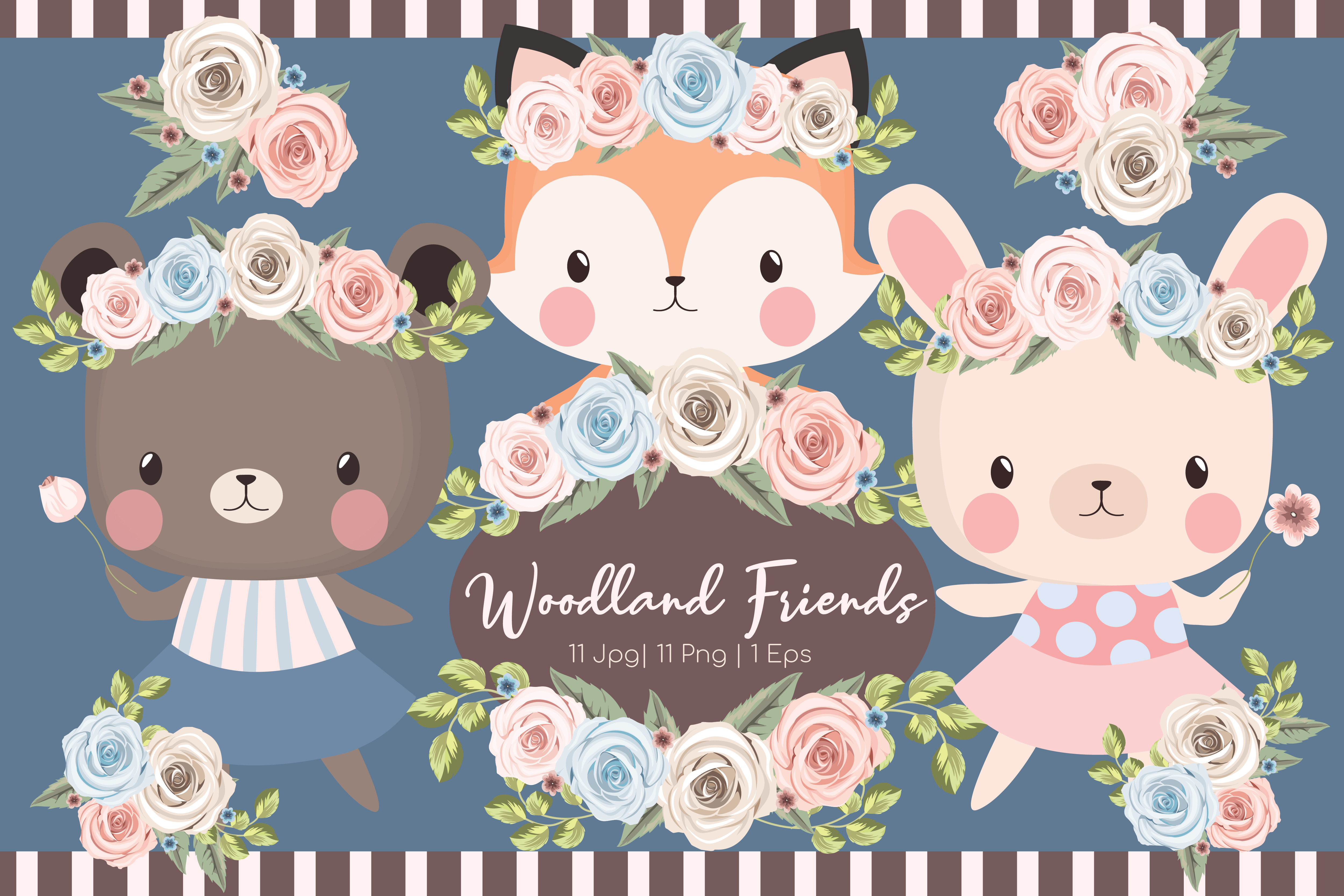 Download Free Woodland Friends Clipart Set Graphic By Jm Graphics Creative for Cricut Explore, Silhouette and other cutting machines.