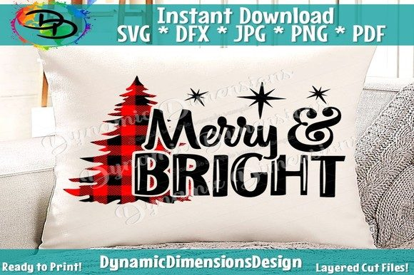 Print on Demand: Christmas SVG, Merry & Bright Graphic Crafts By dynamicdimensions - Image 1