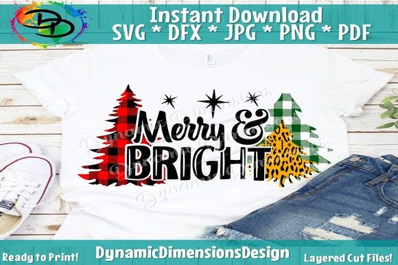 Christmas SVG Cut File, Merry & Bright Graphic By dynamicdimensions