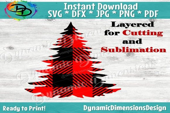 Print on Demand: Christmas Tree Svg, Buffalo Plaid Graphic Crafts By dynamicdimensions - Image 1