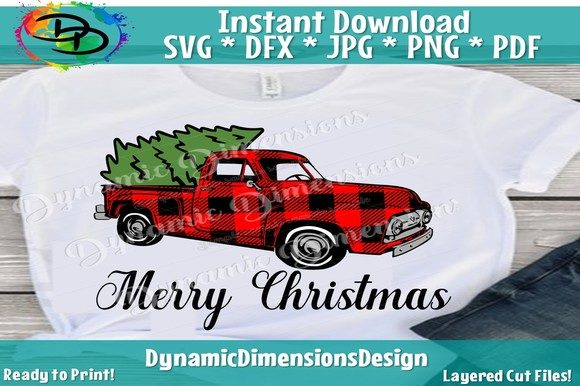 Red Truck Svg, Buffalo Plaid Graphic By dynamicdimensions