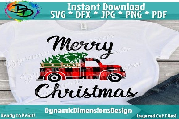 Download Free Red Truck Svg Buffalo Plaid Merry Chri Graphic By for Cricut Explore, Silhouette and other cutting machines.
